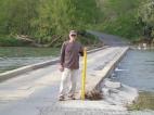 my dad at the one lane bridge to get to Apple Mountain